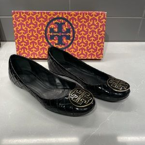 Tory Burch Quilted Reva Flats, Black Patent, s: 10
